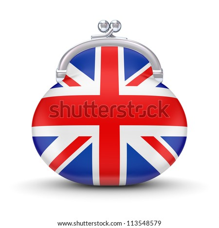 English flag on a wallet.Isolated on white background.3d rendered.