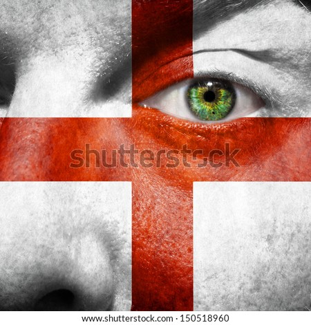 English flag painted on mans face to support his country England