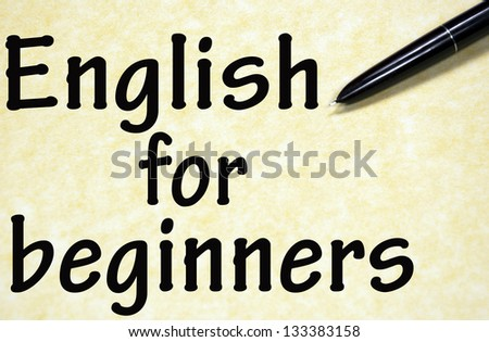 English for beginners title written with pen on paper