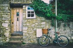 English front cottage with bicycle
