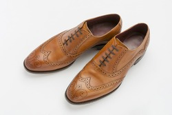 English Full Brogue Brown Shoes isolated on white