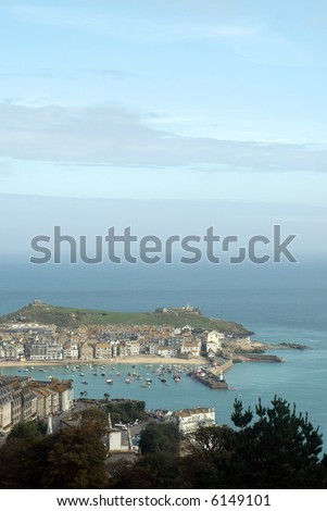 english harbor seascape of st ives in cornwall