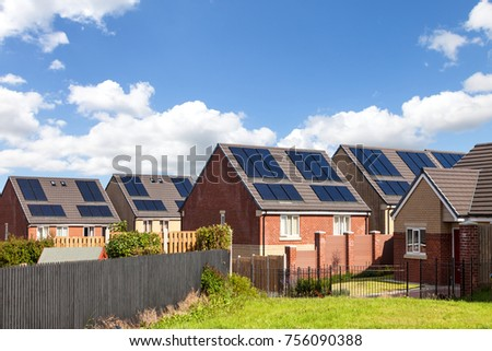 English houses with solar panels  #756090388