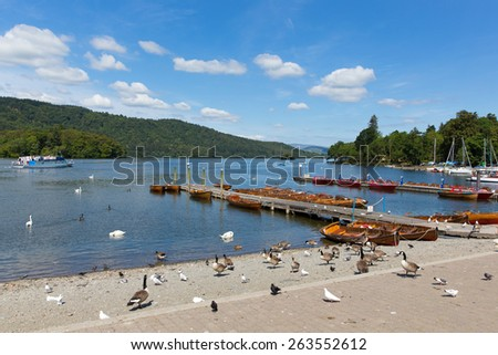 English Lake District Bowness on Windermere Cumbria UK on a beautiful summer day with blue sky with wildlife and jetty