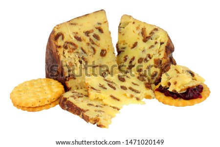 English Lancashire Bowland cheese with savoury biscuits isolated on a white background