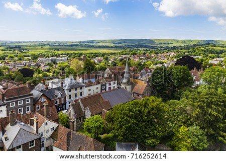 English landscape from Lewes Castle, Lewes, East Sussex, England Zdjęcia stock ©
