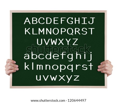 english language alphabet on blackboard with hands