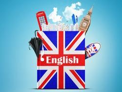 English language textbook with the British flag and umbrella