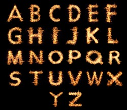 English letters Flames isolated on a black background.