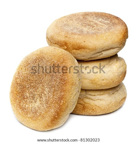 English muffins in a stack, isolated on white background.
