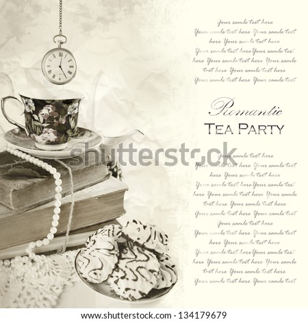 English 5 o'clock Tea Party Ceremony on old paper Background - stock photo