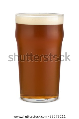 English pale ale in a pint glass. Isolated on white. - stock photo