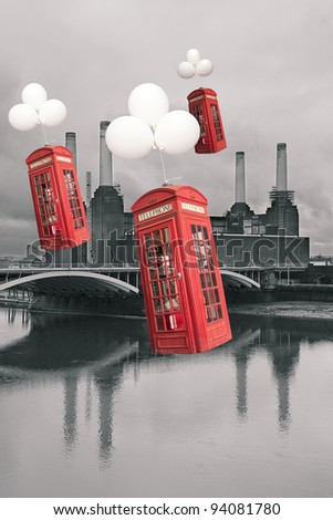 english phone booths flying