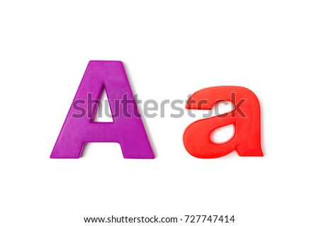 """English Plastic Letter """" A and a """". Capital Letter and Small Letter on white background. Top view. #727747414"""