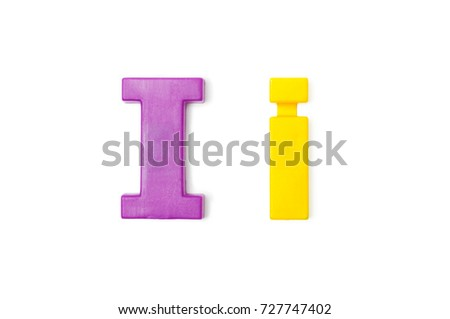 """English Plastic Letter """" I and i """". Capital Letter and Small Letter on white background. Top view. #727747402"""