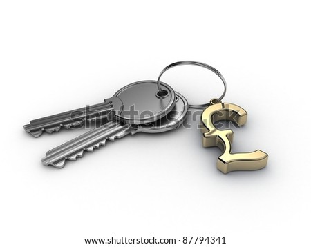 English pound key isolated on white background