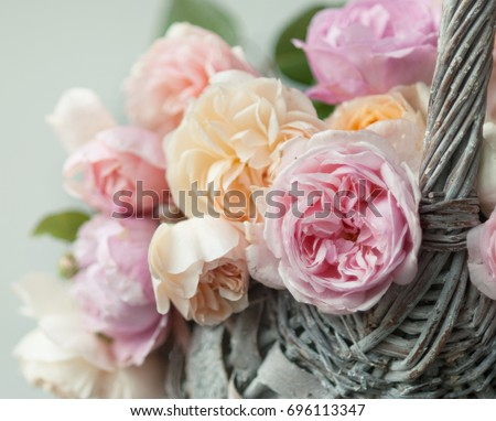 English roses in the basket