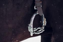English saddle stirrup leathers and fender closeup - horseback riding saddle for sale