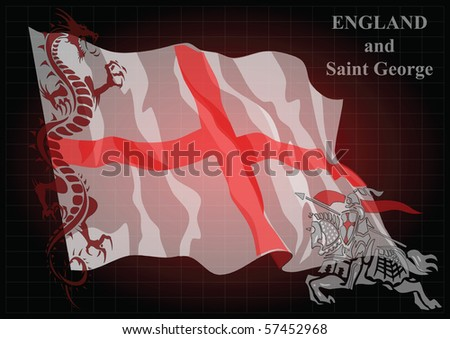 English Saint George fighting the mythical dragon