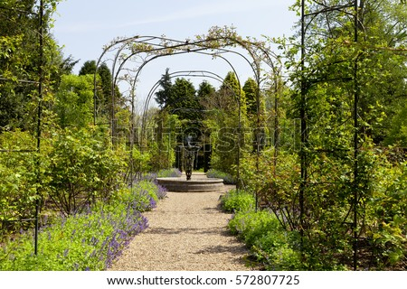 English spring flower garden with a gravel path under an archway leading to a water fountain, surrounded by mature conifer trees and shrubs