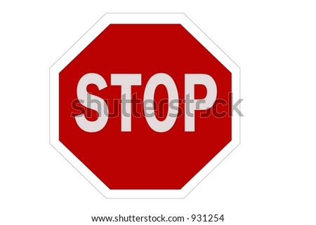 English Stop Sign isolated on a white background