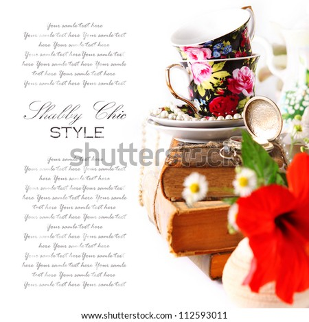 English tea party background in shabby style