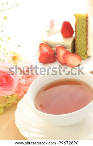 English tea with Green tea Cake for afternoon tea image