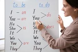 English teacher near whiteboard at lesson, closeup