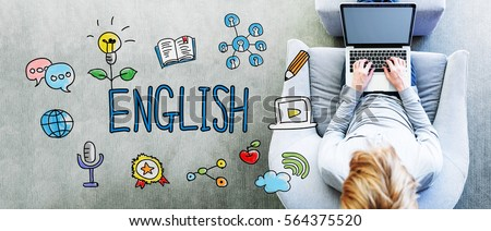 English text with man using a laptop