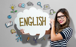 English text with young woman holding a speech bubble