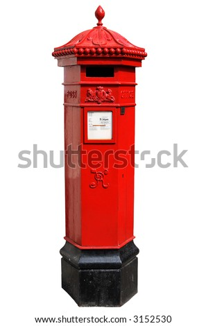 English Victorian hexagonal post box isolated on a white background.