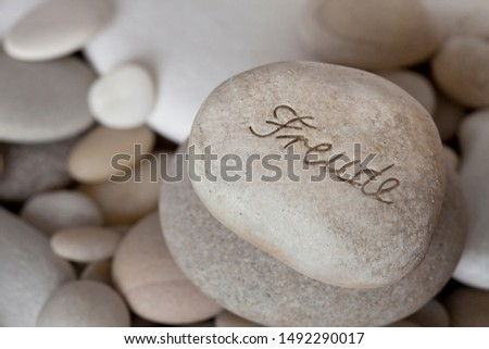 Engraved Pebble With German Word For Joy