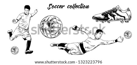 Engraved style illustration for logo, emblem, label or poster. Hand drawn sketch set of soccer football players, shoe and ball isolated on white background. Detailed vintage doodle drawing.