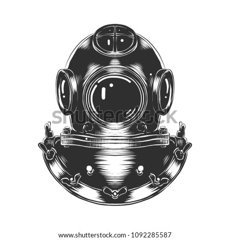 Stock Photo Engraved style illustration for posters, decoration and print. Hand drawn sketch of diving helmet in monochrome isolated on white background. Detailed vintage woodcut style drawing.