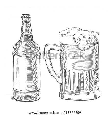 Beer Pencil Drawing Style Hatching Pen Pencil