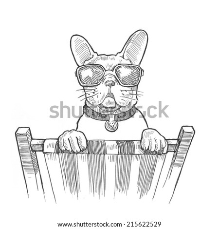 Engraving style hatching pen pencil painting illustration dog vacation sunglasses concept image. Engrave hatch lithography drawing collection.