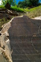 Engravings in Archaeological site of Piscos valley with paleolithic rock art open-air paintings within Côa Valley in northern Portugal in Europe