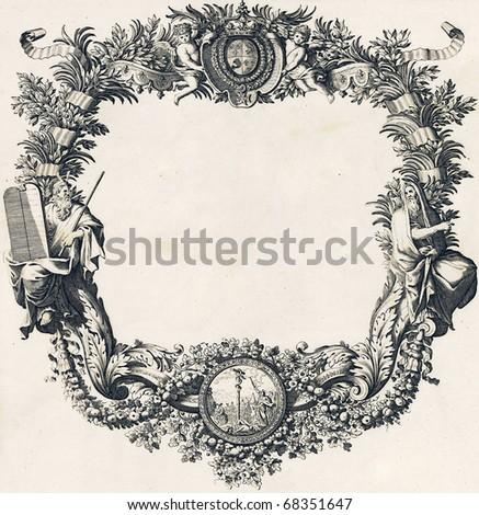 Engravings, vintage frame design