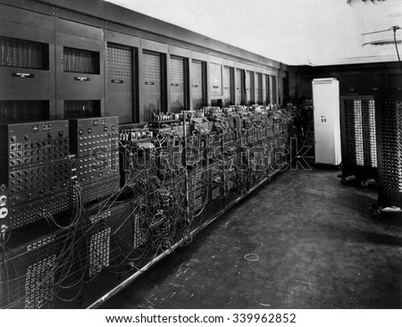ENIAC computer was the first general-purpose electronic digital computer. \'Electronic Numerical Integrator And Computer\' was 150 feet wide with 20 banks of flashing lights. Ca. 1946
