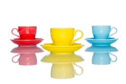 enjoy multiple colorful coffee cup mug on reflection table white  background