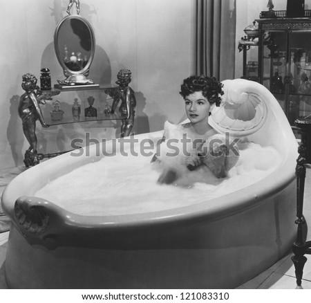 Enjoying a bubble bath