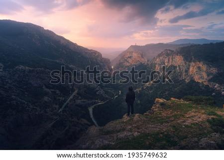 Enjoying a sunrise in the Caminito del Rey, Malaga Foto stock ©