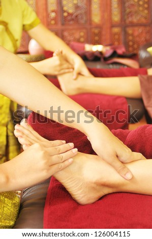 Enjoying and relaxing healthy foot massage