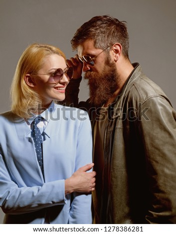 Enjoying every minute together. Couple of man and woman wear fashion glasses. Couple in love. Fashion models in trendy sun glasses. Love relations. Friendship day. Friendship relations. Love story. #1278386281