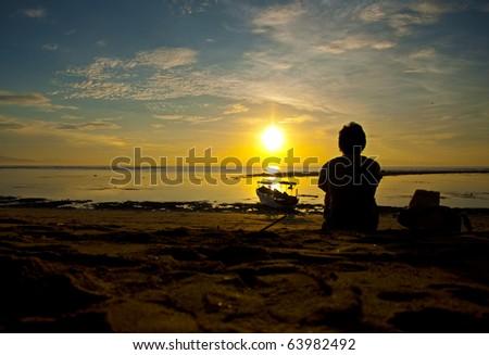 Enjoying sunrise in Bali