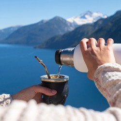 Enjoying the Argentine Mate in the landscapes of Patagonia.