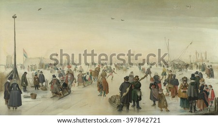Enjoying the Ice near a Town, by Hendrick Avercamp, c. 1620, oil on panel. Dutch Golden Age scene with abundant detail: beggars, ice fishing, skaters, sleds, masked rich women, simply dressed city fol