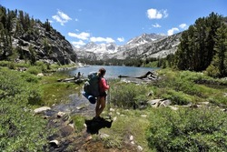 Enjoying the View at Long Lake in Little Lakes Valley, John Muir Wilderness, California, USA