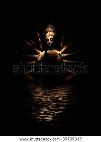 Enlightened Buddha and reflection in rippled water