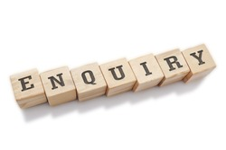 ENQUIRY word made with building blocks isolated on white